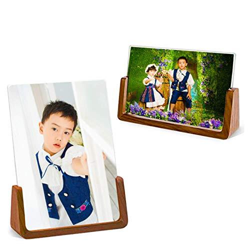 2 Marco de fotos, marco de base de madera maciza, con cubierta de vidrio acrílico de alta definición, para decoración de habitaciones de escritorio, adecuado para fotos de 4 x 6 pulgadas (nogal)
