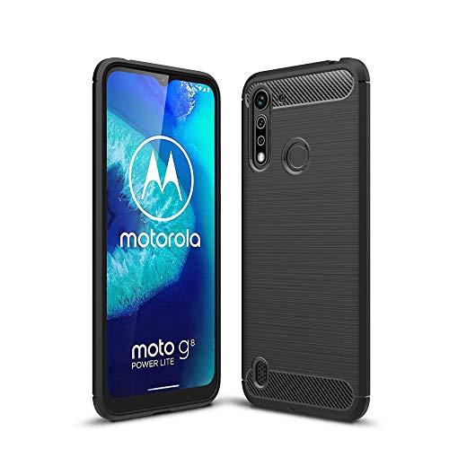 Haoye Passend für Motorola Moto G8 Power Lite Hülle, Edle Robuste Hülle Wirkt Elegant, Leichte, Langlebige, Kratzfeste Kohlefaser Flexible Schutzschicht aus TPU. Schwarz