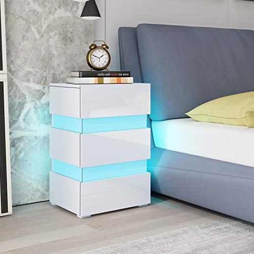 UNDRANDED High Gloss Bedside Table Cabinet Wooden Nightstand Unit Side Table Chest of 3 Drawers with RGB LED Light for Bedroom 45x35x67cm (White)