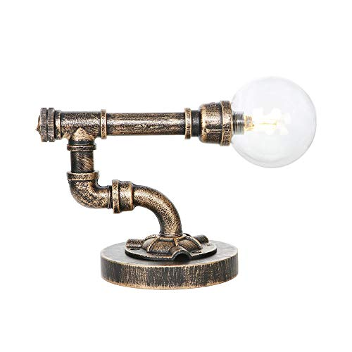 Rustiek nachtkastje, lamp, glas, bol, lampenkap, studiolamp, leeslamp, restaurant, café, verlichting