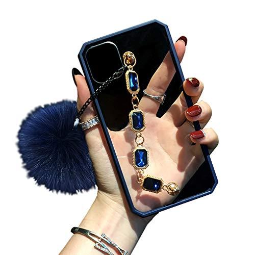 Funda Acrílica Transparente para iPhone X/ iPhone Xs con Cadena de Muñeca de Diamantes de Imitación Brillante, Clear Hard Back Soft TPU Bumper Carcasa Protectora para iPhone X/ Xs, Caso Antigolpe, B
