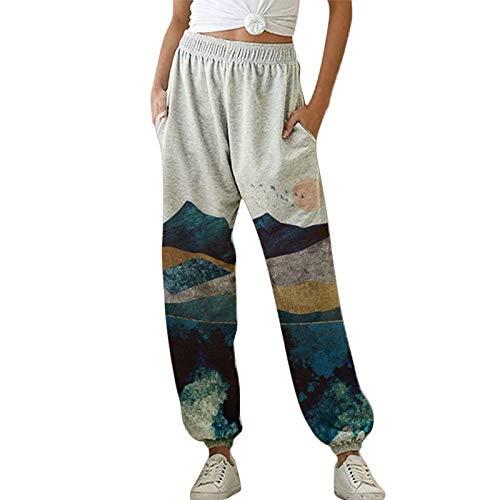 OEAK Damen Sporthosen Lang Jogginghose Loose Fit Elastischer Bund Freizeithosen Hohe Taile Traininghose mit Taschen Bequem Sweathose