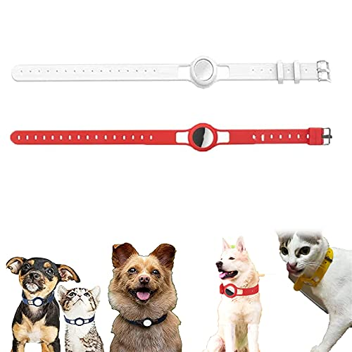 2PCS-Silicone Protective Case for Apple Airtag Pet Dog Cat Adjustable Collar Strap,Case Wearable Anti-Lost Locator,Pet Loop Holder for Airtag,GPS Finder Dog Cat Collar Loop (A)