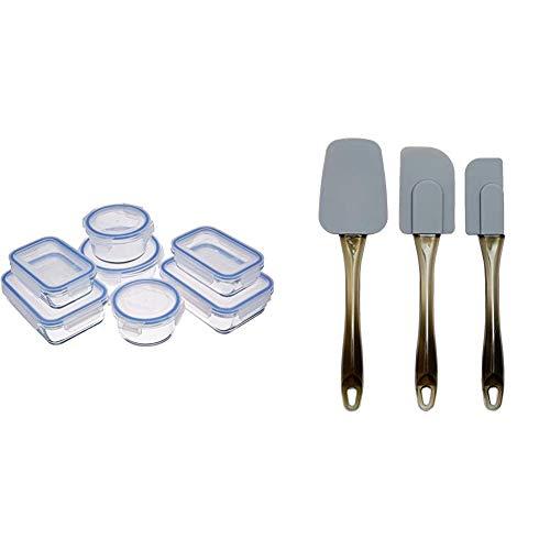 Amazon Basics - Recipientes de cristal para alimentos, con cierre (7 unidades) + Espátulas de silicona - Set de 3 piezas
