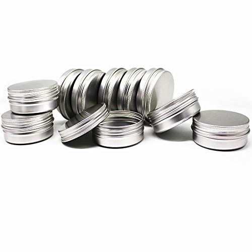 10 Pack 2 ounces round aluminum cans, container bottles screw cap containers spiral top round aluminum cans - Great for Store Spices, Candies, Tea or Gift Giving