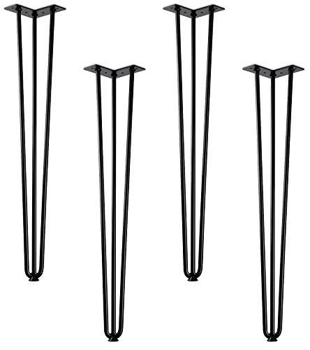 4 Stück Haarnadelbeine schwarz 710 mm 3 Streben Hairpin Legs Stützfuß Tischgestell Esstisch von SO-TECH®