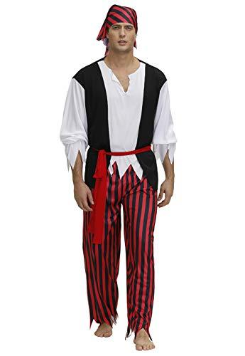 Haorugut Adult Pirate Costume Men Pirate Costumes, Multi Color, XX-Large
