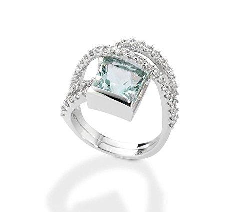 DE GIORGIO GIOIELLERIA Anello Oro Bianco 18KT Diamanti CT0,88 E Acquamarina CT 3.33 Gioiello di Lusso