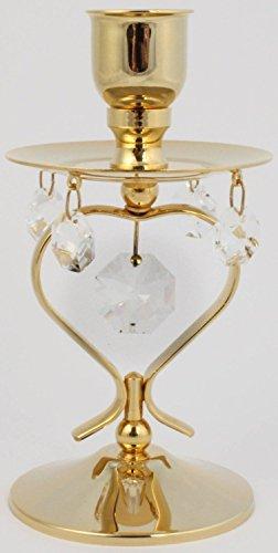 Rieser Interieur Kerzenständer mit Kristall Glas - 24k Gold überzogen - Made with Swarovski Elements