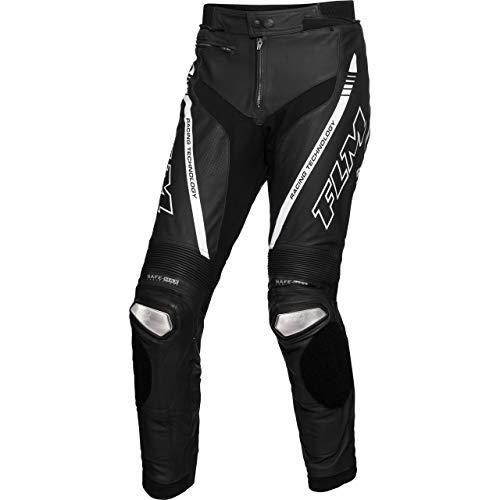 FLM Kombihose Lederkombi Motorradhose mit Protektoren Sports Leder Kombihose 3.1 schwarz/weiß 50, Herren, Sportler, Sommer