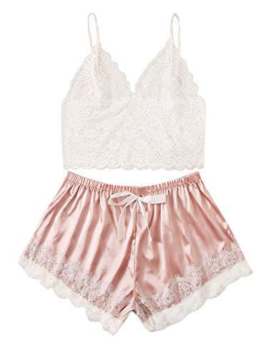 SOLY HUX Women's Plus Size Lace Bralette with Satin Shorts Pajama Lingerie Set White & Pink 1XL