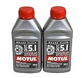 Motul (2 Pack) 100950 100% Synthetic Brake Dot 5.1 Brake Fluid 1/2 Liter or 500 ml