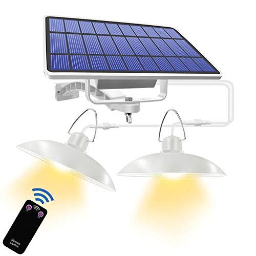 Solar Hängelampe, Suroper 32 LED Retro IP65 Wasserdicht Trennbar Solar Außenleuchte, Fernbedienung Pendelleuchte mit 180 ° Verstellbarem Solarpanel für Camping, Garden Patio Home (Z-Warmes Licht-2)