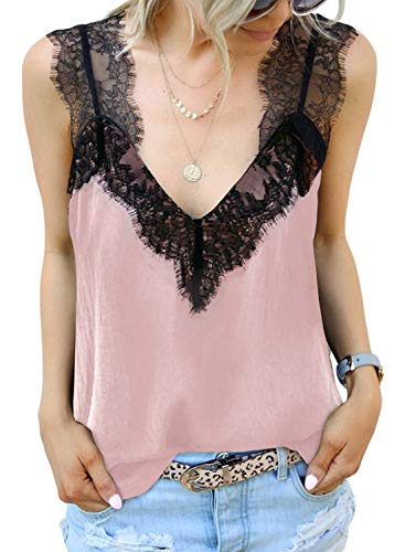 BLENCOT Women's Cute Lace Strappy V Neck Sleeveless Tops Cami Tank Tops Casual Loose Blouses Shirts Pink X-Large