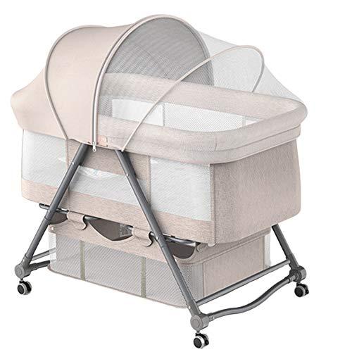 XYSQ Deluxe Cuna Colecho Minicuna Colecho Regulable, Reclinable, Colchón Incluido Plegable Rápido para Recién Nacido, Niña Y Niño Ventilación (Color : Beige)