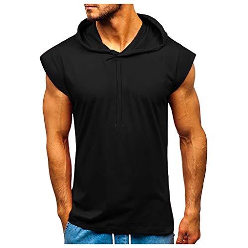 Yowablo Herren Tanktop mit Kapuze, Tank Tops Männer Ärmelloses T-Shirt Biker Kapuzenshirt Hoodie Trägershirt Slim Fit (XXL,4Schwarz)