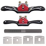 """KOOTANS 2pcs 9"""" 10"""" Adjustable Spokeshave, with Replacement Blades and 4-Way Rasp File, Manual Planer with Flat Base, Perfect for Planing Trimming, Wood Working Deburring Tools"""