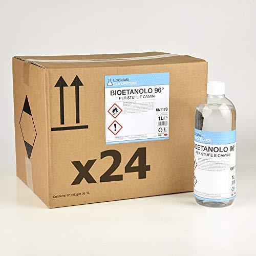 24 Bottiglie da Litro di Bioetanolo INODORE Made in Italy.