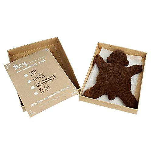 Casa Vivente – Dickes Fell – Braunbär – Mit Geschenkbox und Grußkarte – Glücksbringer und Trost bei Stress und Liebeskummer – Geschenkidee Frauen und Männer