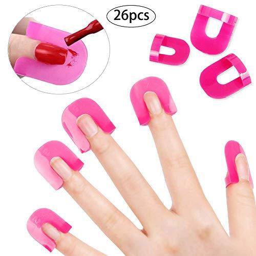 Snner 26PCS / Set wiederverwendbarer Nail Art Guide Nagellack Schablone Finger Abdeckung Nagellack Schild Spill Proof Maniküre-Schutz-Werkzeuge mit 1 Blatt Französisch Nail Sticker