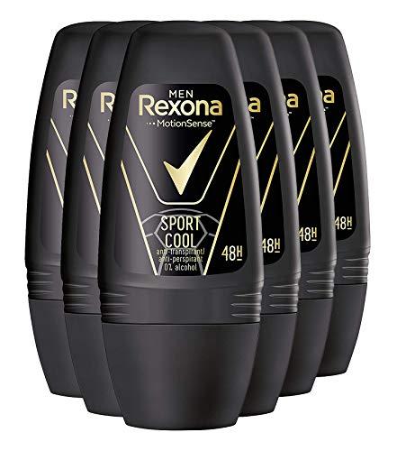 Desodorante Rexona Men Roll-On Sport Cool antitranspirante, 6 unidades (50 ml).