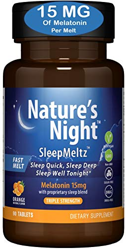 Triple Strength Nature's Night Sleep Meltz, Melatonin 15mg with Sleep Blend, 3 Month Supply, Natural Flavor, Sugar Free, Vegan, Non-GMO, Drug Free
