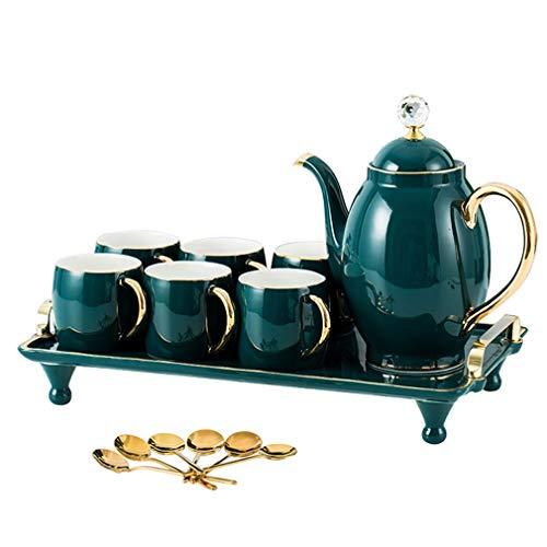 ANXI europäisches Porzellan-Teeset Handarbeit Keramik Teebereiter mit exquisitem goldenen Rand Teekanne und Teetassen Teelöffel, 6er-Set