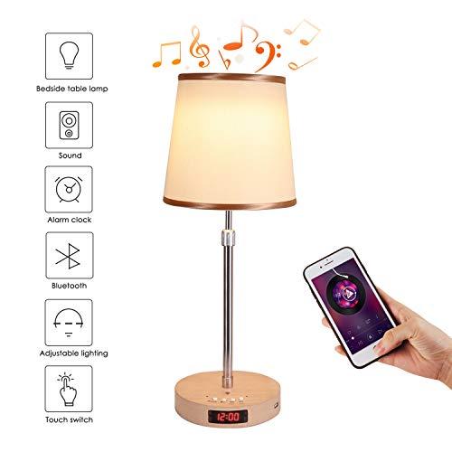 Nachttischlampe mit Bluetooth Lautsprecher,LED Wecker Tischlampe mit Dimmer und Touch Sensor,Musik Nachtlicht für Kinder, Freunde
