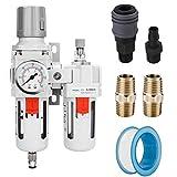"NANPU 3/8"" NPT Compressed Air Filter Regulator Lubricator Combo Water/Oil Trap Separator - Gauge(0-150 psi), Poly Bowl, Semi-Auto Drain, Bracket - 3 in 1 Two Unit"