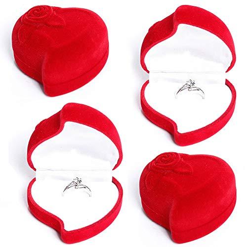 Caja para Joyas, NALCY Caja para anillos, 4 Piezas Caja de Regalo Joyas Pantalla Caja de Almacenamiento Caja de Regalo con Forma de Corazón (Rojo)