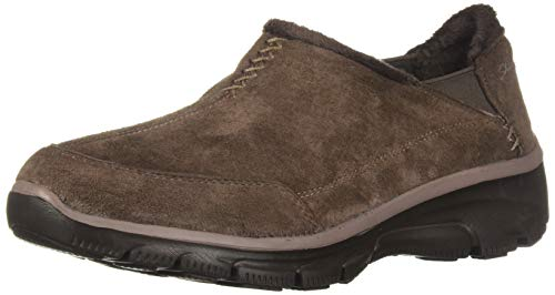 Skechers Women's Easy Going-Hive-Twin Gore Shootie with Faux Fur Trim Loafer, Chocolate, 7 M US