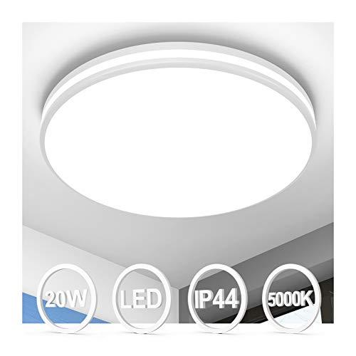 LED Deckenleuchte 20W, Öuesen Badezimmer Lampe Deckenlampe Bad 5000K Kaltweiß, 1850LM IP44 Wasserdicht Badlampe für Bad Küche Balkon Korridor und Büro