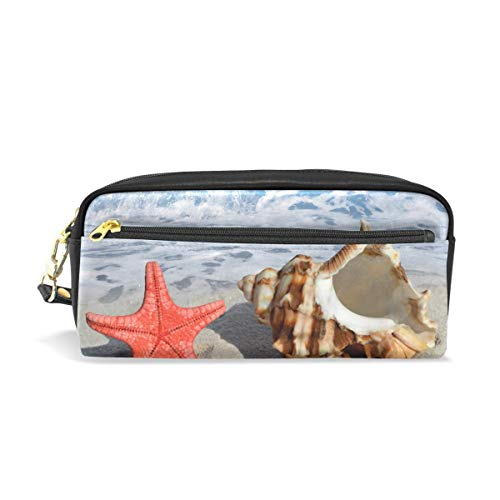 Beach Summer Starfish Conch Pencil Pounch Case Pen Bag Zipper Boy Girl Teen Women College School Writing Supply
