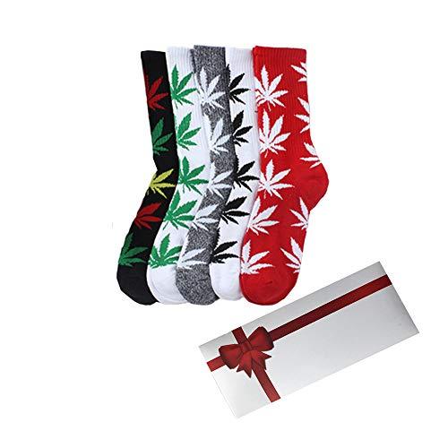 TTD 5 packs de mauvaises herbes uniSexe feuille de coton imprimé chaussettes feuille d'érable chaussettes imprimées avec boîte-cadeau athlétique sports de la marijuana haut de l'équipage chaussettes