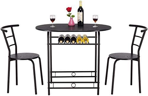 DREAMADE 3 Pezzi Set di Mobili per Sala da Pranzo Tavolo da Cucina con 2 Sedie, Resistente e Durevole (Nero)