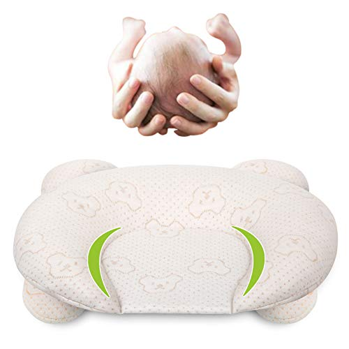 Baby Pillows for Newborn Sleeping(0-12months) Prevent Flat Head Nursery Head Shaping Infant Unisex Latex Pillow Head Protection Support Bear Pillows