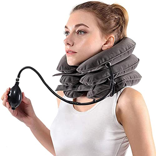 Worth having - Dispositivo de tracción del cuello para el alivio del dolor de cuello instantáneo: soporte inflable y ajustable del cuello del cuello del cuello, la mejor almohada de tracción del cuell