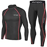 1Bests Hommes 2 Pièces Camouflage Fitness Sportswear Running Training Collants Speed Drying Coat Set (Black Red Line (1), XXL)