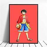 WHMQJQ cuadro sobre lienzo para pared Anime japonés una pieza carteles de cómic Luffy e impresiones cuadros de decoración para habitación de niños sin marco 40 * 60Cm