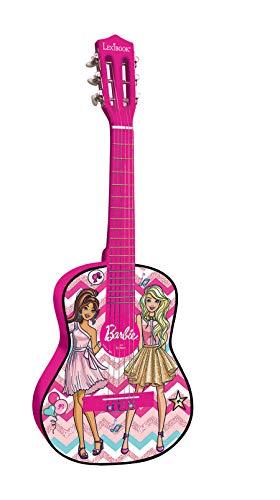 Barbie, Mattel-Guitarra clásica de 6 Cuerdas, 78 cm Largo, Material de Madera (Lexibook K2000BB) Acústica, Guía de Aprendizaje incluida, Rosa, Color