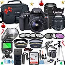 Canon EOS Rebel T6 Camera w/Canon EF-S 18-55mm is II Lens & 75-300mm f/4-5.6 III Lens + 32GB Sandisk Memory + Camera Case + TTL Speedlight Flash (Good Up-to 180 Feet) + Accessory Bundle