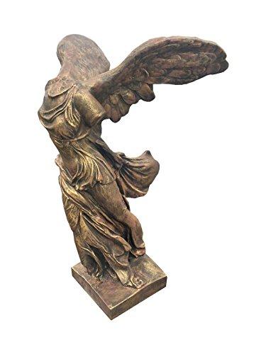 Antikes Wohndesign Griechische Gartenfigur Engelfigur Bronze Optik Siegesgöttin Samothrake
