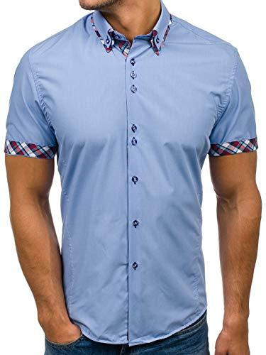 BOLF Hombre Camisa De Manga Corta Abotonada Cuello Americano Camisa de Algodón Slim Fit Estilo Casual 6540 Azul Claro M [2B2]
