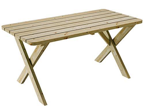 PLATAN ROOM Gartenmöbel aus Kiefernholz 120 cm / 150 cm / 170 cm breit Gartenbank Gartentisch Kiefer Holz massiv Imprägniert (Set 2 (Tisch + 2 Bänke + 2 Stühle), 170 cm) - 4