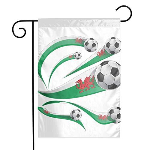 Jacklee Wales Vlag Set met Voetbal Tuinvlaggen Duurzame Verticale Huis Vlag Fade Resistant Outdoor Banner Kwaliteit Yard Decoratieve Vlaggen voor College Weekend Sports- 12