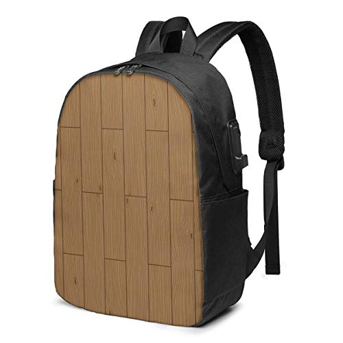 XCNGG Wood Panels Travel Laptop Backpack College School Bag Casual Daypack with USB Charging Port