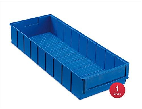 aidB Industriebox, 500x183x81 mm, breit, blau, robuste Aufbewahrungsbox aus Kunststoff, stapelbare Lagerbox, ideal für die Industrie