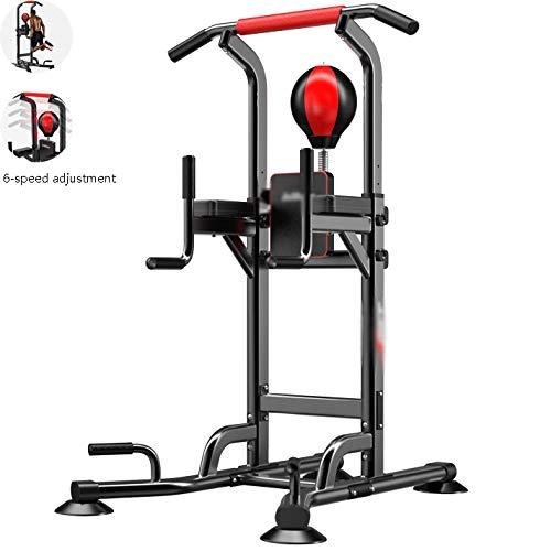 HYJBGGH Power Tower Chaise Romaine avec Balle De Boxe, Power Tower Musculatio Multifonction De Fitness Réglable, Équipement De Fitness d'exercice en Intérieur (Color : Black)