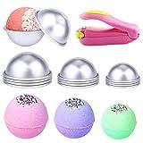 Stampo per bomba da bagno in metallo 12 pezzi 3 dimensioni Creatore di stampi per sapone a sfera in lega di alluminio fai-da-te Una mini macchina per sigillare rosa, utilizzata per regali bomba