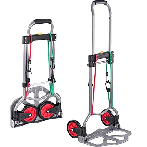 BALOU Schwerlast Sackkarre klappbar - 60 kg Tragkfraft inkl. 2 Expander-Seilen - Transportkarre mit pannensicheren Reifen